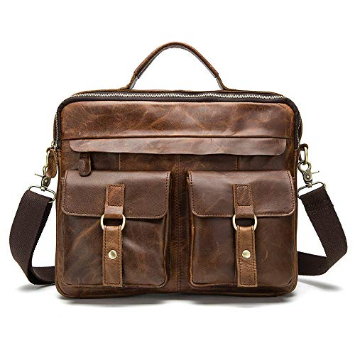QSGNR Aktentasche Mode Männer Tasche Aktentaschen Leder Umhängetaschen Messenger Totes Handtaschen Aus Leder Laptoptasche Umhängetaschen Männer 35 cm Rot Braun