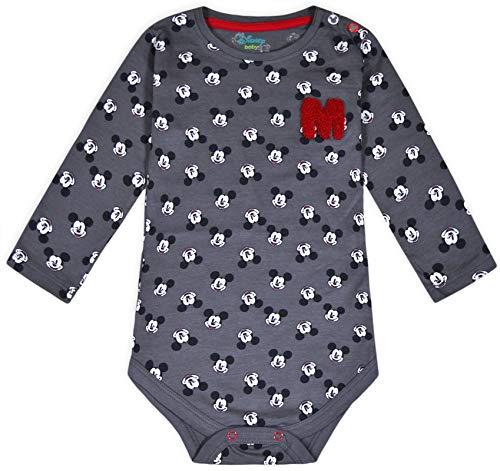 JollyRascals Baby-Strampler für Jungen, Disney Micky Maus, Baumwolle, 0-36 Monate Gr. 3-4 Monate, grau
