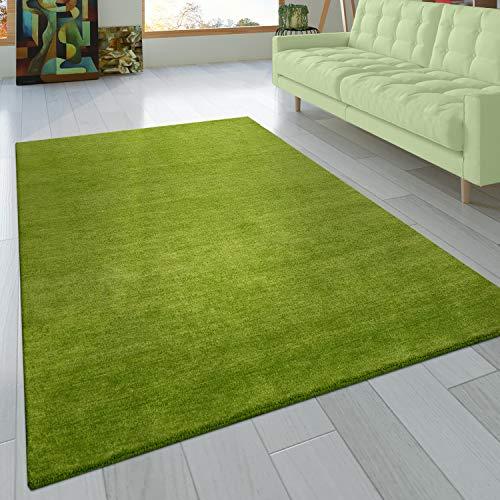 Paco Home Teppich Handgeknotet Gabbeh Hochwertig 100% Wolle Dezent Meliert Grün, Grösse:120x170 cm