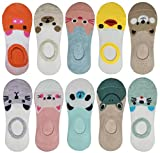 RATIVE Thin Flat Liner No Show Low Cut Cotton Socks For Kids Girls (10-pairs/funny animals)