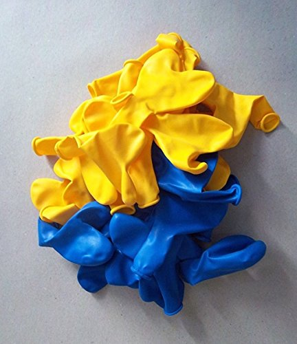 100 Blau gelb Herz-Luft-Ballon-s Hochzeit-Herzballons Herzluftballons-Deko-Geschenk-Idee-Schmuck-Schmücken-Helium geeignet- vom-Sachsen-Versand Deutscher Händler