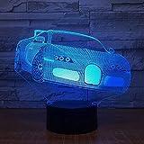 Cool car 3D Night Light 7 Cambio de color Touch Button Lámpara de mesa Led Navidad USB Light Fixture Kids Gift Dormitorio Mesita de noche Decoración