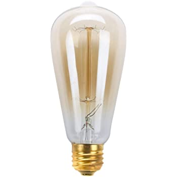 Aveks Pack of 1 Vintage Edison 40W 110V E26 Base Squirrel Cage Filament Incandescent Light Bulb,Amber Warm