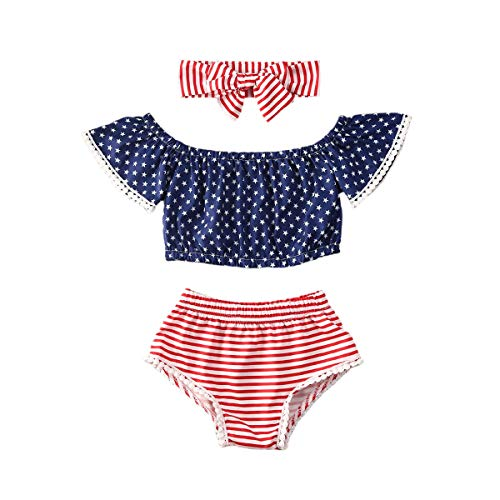 4th of July Clothes Newborn Baby Girl Independence Day Outfit Off Shoulder Star Tops Tassel Striped Romper Shorts 2Pcs Set (Red, 0-6M)