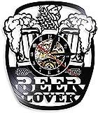 zgfeng Espuma de Vidrio Cerveza Reloj de Pared Bar Reloj de Pared Saludos Alcohol Disco de Vinilo Reloj de Pared decoración de la cervecería Reloj de Pared Amante de la Cerveza Regalo del Vino