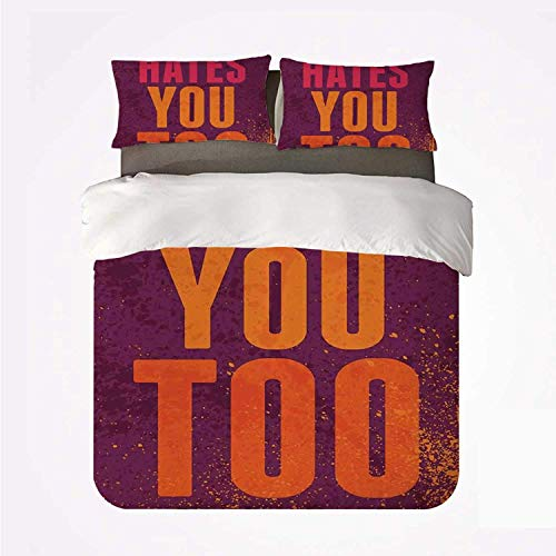 Zozun Duvet Cover Set Abstract Nice 3 Bedding Set,Grunge Vintage Design with Monday Hates You Too Inspiring Quote Art Print for livingroom