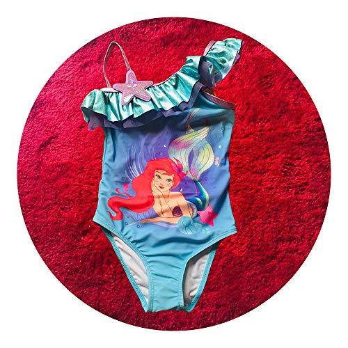 人気 最新 水着 子供 女の子 アリエル 人魚姫 保育園 幼児園 低学年 プール 可愛い おしゃれ ブルー (140cm)