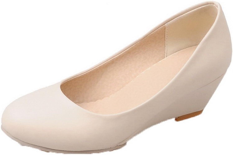 AllhqFashion Women's Round-Toe Pull-On PU Kitten-Heels Solid Pumps-shoes