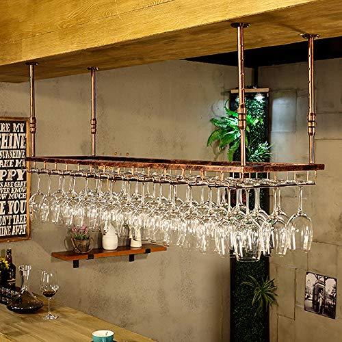 JHGJBJ Soporte Copas Colgante,Altura Ajustable Soporte De Copa De Vino Rústico Estilo,Metal Decoración Almacenamiento Estante para Bar Cocina Comedor,2 Tamaños (Color : Bronze, Size : 90 * 35cm)