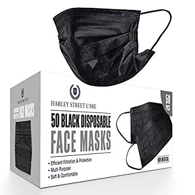 Harley Street Care Disposable Black Face Masks Protective 3 Ply Breathable Triple Layer Mouth Cover with Elastic Earloops (Pack of 50)