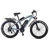 GUNAI Bicicletta Elettrica Pieghevole Bici da Montagna 48V 1000W Ebike con Batteria al Litio da 26Velocità Sospensione Completa Premium e Cambio con Sedile Posteriore(Blu)
