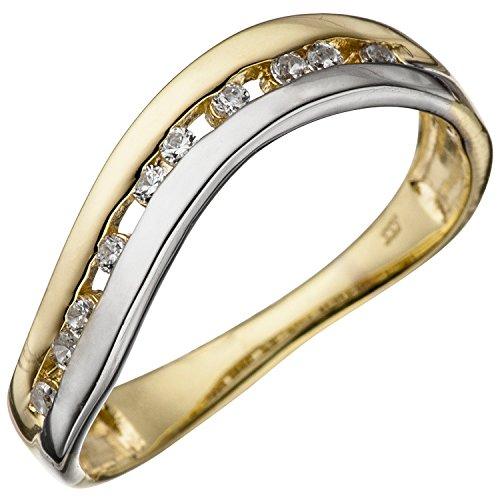 JOBO Damen-Ring aus 333 Gold Bicolor mit Zirkonia Größe 58