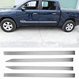 Fscar Stainless Steel Chrome Body Side Molding Cover Trim Door Protector 4Pcs for Dodge RAM 2018-2021