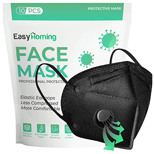 Black Face Mask With Filter | 10pcs | Disposable Face Masks | Face Masks For Women For Men | Respirator Mask | Breathable Face Mask | Non-Woven 5 Layers Disposable Masks