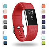 POY Replacement Bands Compatible for Fitbit Charge 2, Classic Edition Adjustable Sport Wristbands, Large Red