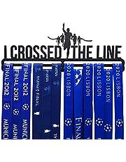 Qktxktzy Medaillen, wandhouder, voor hardlopen, display, zwart, super hard staal, metaal, wandmontage, medaillehouder voor I Crossed The Line loopsport, leuk cadeau voor hardlopers