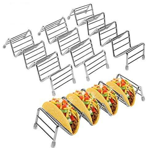 Taco Halter Edelstahl, 4 Stück Taco Ständer Tortilla Halter, Wellenform Food Ständer zum Servieren von Weichen und Harten Tacos, Geeignet für Grill, Backofen, Spülmaschinenfest