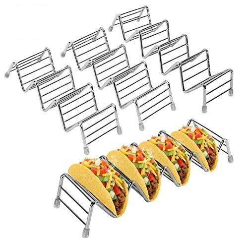 Haofy Taco Trays Holders, 4 Pack Stainless Steel Wave Shaped Tacos Rack Plate Stand for Serving Up Soft & Hard Shell Food Tacos Truck Tray Style, for Kids Parties, Dishwasher & Microwave Safe