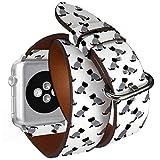 Compatible con Apple Watch de 38 mm y 40 mm, Correa de Piel con adaptadores de Acero Inoxidable (Camiseta de Marinero Scottish Terrier)