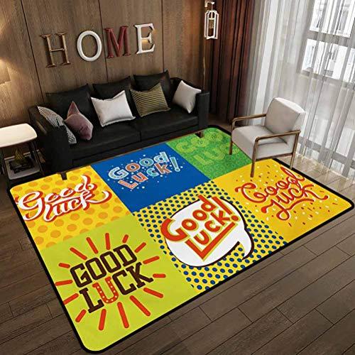Toilet Floor mat,Lucky Phrase Text Farewell Comic Book Pop Artwork Retro Typography Print,Indoor and Outdoor Floor mats Multicolor 6'x8'(180x240cm)