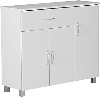 KadimaDesign Aparador Blanco 90 x 75 cm con 3 Puertas y 1 cajón
