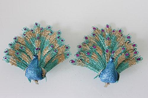 Set van 2 Peacock fan staart acryl glitter Clip op Vogels 30cm - Kerst decoratie
