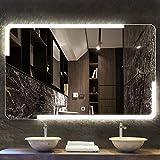HZWLF Espejo de baño Película antiniebla Led Baño montado en la Pared Blanco 6000k Luz cálida 2700-3000 K Vida útil más de 50 000 Horas