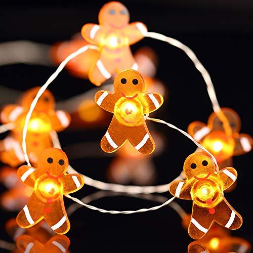 Weihnachtsbeleuchtung Dekoration Weihnachten Lebkuchen Mann 40 LED Lichterketten mit Fernbedienung für Weihnachten Haus Party Schlafzimmer Weihnachten Dekoration 10 Füße (Lebkuchen Mann)