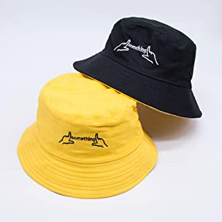 TIMWIL Unisex Chinese Embroidered Bucket Hat Cotton Fisherman Hat Summer UV Protection Sun Hat for Women Men