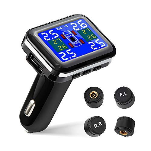 Tsumbay TPMS Car Tire Pressure Monitoring System Wireless Real-time Alarm with 4pcs External Sensors (1.1-3.5 Bar/ 16-51 Psi), Temperature and Pressure LCD Display