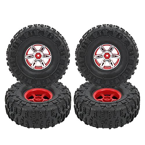 Neumático de Coche RC de 4 Uds, OD 122mm/4.8pulgadas, Juego de Cubos Oruga de Rueda de Coche Control Remoto de Aleación de Aluminio para Escala 1/10 en Carreras de Carretera(rojo)