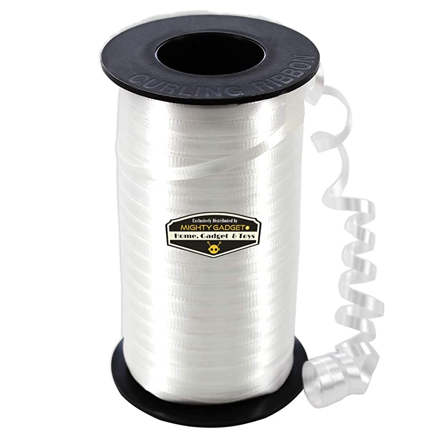 Mighty Gadget White Curling Ribbon & Ballon Ribbon 3/16-Inch Wide by 1500 feet Long Spool
