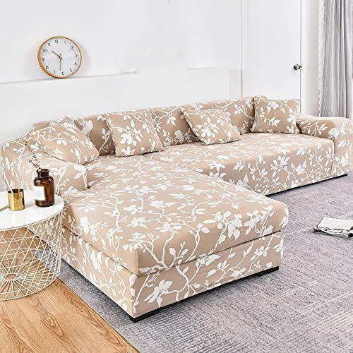 YANJHJY Funda de sofá de 1 Pieza 100% poliéster Funda de sofá elástica Funda de sofá para Sala de Estar Esquina para Mascotas Chaise Longue Funda de sofá en Forma de L