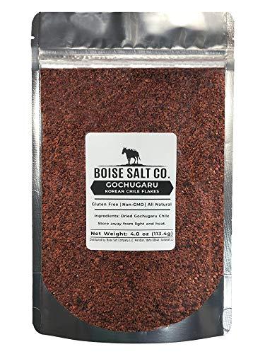 Boise Salt Co. Korean Gochugaru Chile Flakes All-Natural - Gluten Free - Non-GMO – 4 ounce Re-sealable Pouch