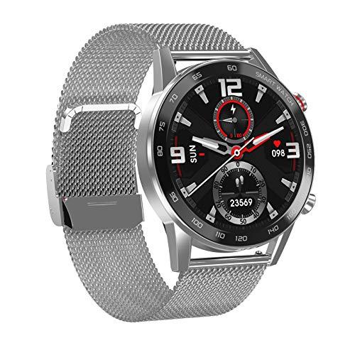 Smartwatch, Reloj Inteligente Con Pantalla TáCtil de Llamada Bluetooth de 1.3 ', CronóMetro Con PodóMetro Ip68 Impermeable, Reloj Deportivo Con Monitor de Frecuencia CardíAca,Silver steel strap
