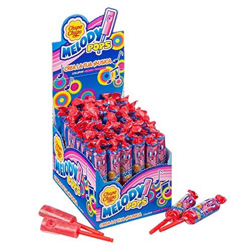 Chupa Chups Melody Pops, Lecca-Lecca Fischietto, Caramella Lollipop Gusto Fragola, Confezione da 48 Pezzi