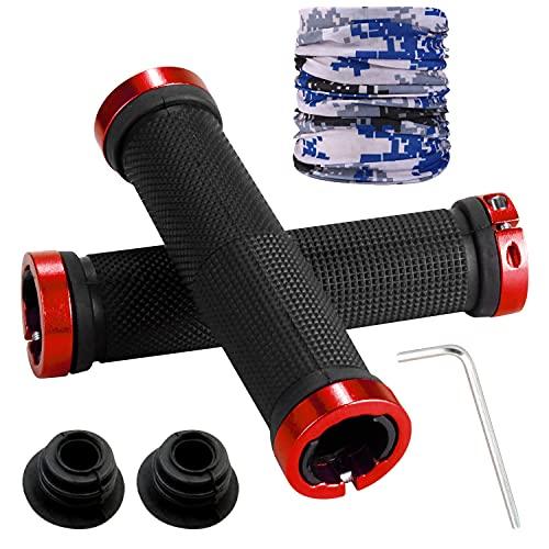 Waflyer Puños ergonómicos para bicicleta, 1 par de puños de manillar con bandanas multifunción y 2 tapas de extremo, goma antideslizante para bicicleta de montaña, de carretera, scooter, MTB,