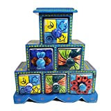 handicraft Crafted Wooden & Ceramic Small Chest Of 6 Decorated Drawers Jewellery Organizer Desk Organizer Showpiece Table Décor Showpiece Blue Pottery Art Pure Hand Decorated Embossed Painting