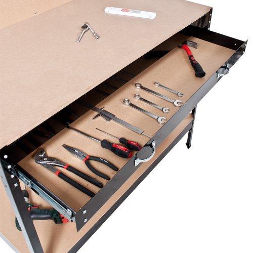 TecTake Werkbank 120 x 60 x 156 cm aus Metall mit Werkzeugwand - 7