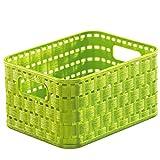 Rotho Country, Cesta de almacenamiento de 2l en aspecto de ratán, Plástico PP sin BPA, verde, A6, 2l 18.3 x 13.7 x 9.8 cm