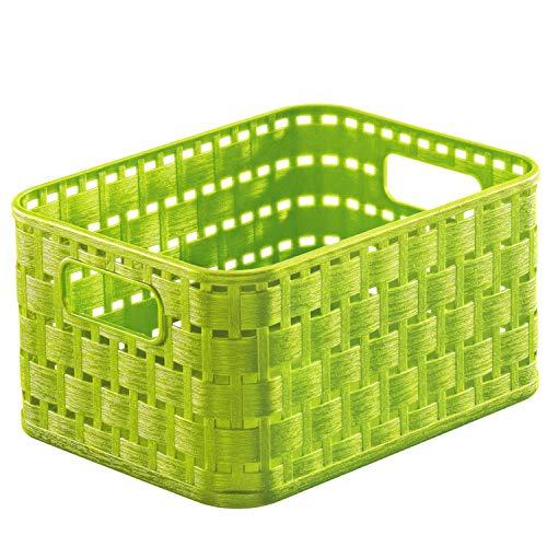 Rotho Country Aufbewahrungskorb 2l in Rattan-Optik, Kunststoff (PP) BPA-frei, grün, A6/2l (18,3 x 13,7 x 9,8 cm)