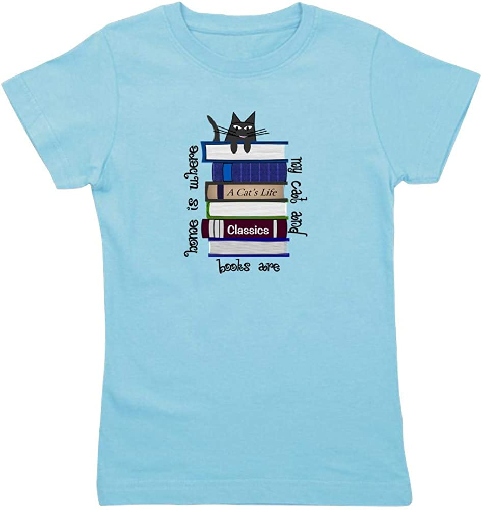 CafePress Home is Where Cat and Books are Slim Tee