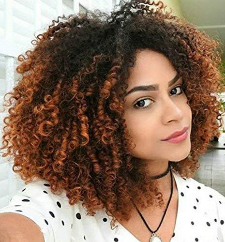Perücke Afro Kinky Schwarze und Braun Damen kurze wellige Perücken Locken Für Frauen synthetische Wig mit Pony Natürlich lockige Perücke 036D