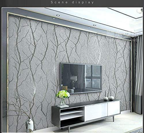 FYBSNDY 3D Mural Grey 3D Embossed Crushed Velvet Wallpaper Luxury Bedroom Living Room Wall Decor Wall Paper Flocked Brown-150Cmx100Cm