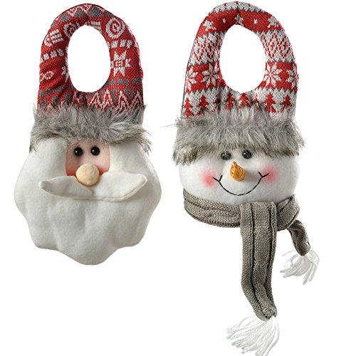 WeRChristmas, Set di 2 Decorazioni Natalizie per Porte, a Forma di Babbo Natale e Pupazzo di Neve, 23cm, ColoriGrigio e Rosso