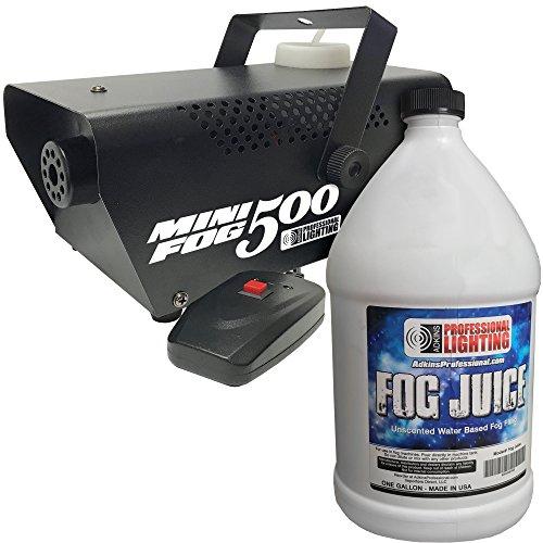 Fog Machine - 500 Watt Mini Fog Machine with Remote and 1 Gallon Fog Juice - Impressive 2,000 Cubic ft. per minute