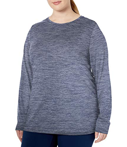Amazon Essentials Plus Size Tech Stretch Long-Sleeve Fashion-t-Shirts, Navy Heather, 4X