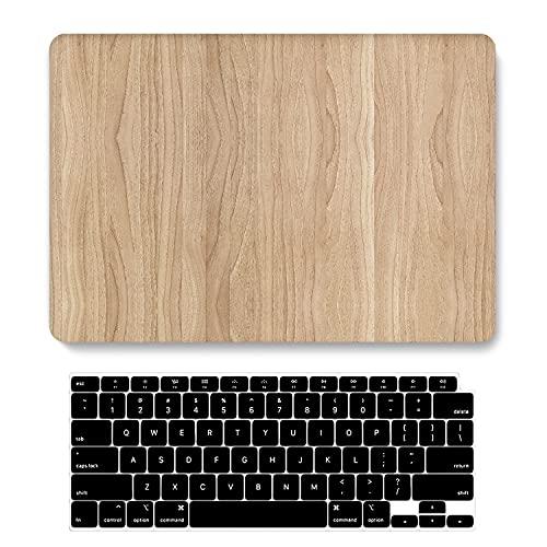 ACJYX Compatible con MacBook Pro de 13 pulgadas 2020-2016 Release A2338 M1 A2289 A2251 A2159 A1989 A1706 A1708, cubierta de plástico duro mate protectora y cubierta de teclado, grano de madera