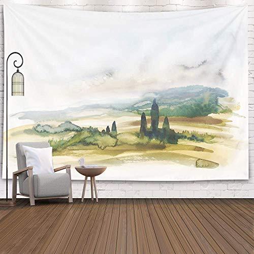 Tapiz navideño, tapices Deacutecor, Sala de Estar, Dormitorio para el hogar, por Impreso para Pintura de Acuarela Que Muestra el Paisaje en la Toscana, horario de Verano en, Azul Negro