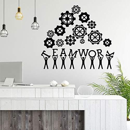 Creatief ontwerp kunst aan de muur sticker teamwerk zakelijk succes werk inspiratie citaat kantoor decoratie motivatie vinyl sticker muurschildering 57.6x50.4cm
